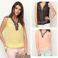 FanShou Free Shipping 2014 Fashion Women Blouses Sleeveless Chiffon Shirt Candy Color Sexy V-neck Women's Tops Blusas Plus Sizes
