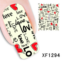 Free Shipping 2014 New Water Transfer Nail Art Stickers Decal Letters LOVE Decorative Foils Stamping Tools XF1294
