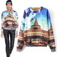 2014 Newest European Style 3d Building Print Women Hoodie Fashion Long Sleeve  Winter Autumn Sudaderas Mujer Pullover XH009