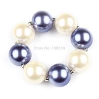 10pcs/lot New Arrival Purple Inspired Solid Chunky Beads Bracelet Bubble Gumball Princess Sofia Bracelet DIY Girls Jewelry