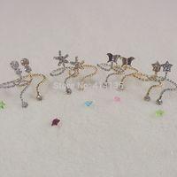 15pc/lot free shipping  mixed design party full crystal animal nail rings