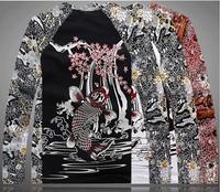 Men's Casual Tee Long Sleeve T Shirt Japan Carp And Cherry Blossom Ukiyoe Tattoo Art Design Slim Fitted NEW