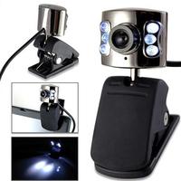HD Webcam Computer Web Camera USB2.0 Web Cam 6 LED Light with Built-in Microphone for Laptop Desktop PC