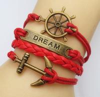Jewelry Fashion Vintage Anchor Antique Brass Leather Cute Infinity Charm Bracelet U Pick
