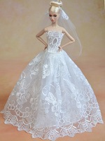 For barbie doll accessories clothes ,White wedding / Noble skirts, Evening dress / Children's gifts