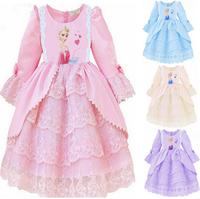 Retail,  Elsa & Anna costume custom size for kids princess dress sequined cartoon costume Free shipping girls dresses