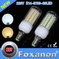 Foxanon Brand  Led Lamps E27 5730 69Leds 220V Ultra Bright LED Lights Hight Power Corn Bulb Christmas Chandelier Candle Lighting