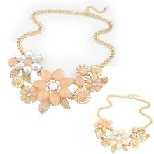 Fashion Womens Pink Flower Jewelry Choker Bib Statement Collar Chain Pendant Necklace