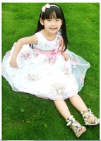 Spring Korean Style Children Princess Dressy Girls Layered Veil Dresses Kids Rose Corsage Lace Free Shipping
