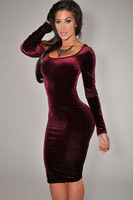 2014 New Women Autumn Winter Wine Red Long Sleeve Velvet Dress Bodycon Midi Dress T6684 Ladies Red Vintage Slim Fit Sheath Dress