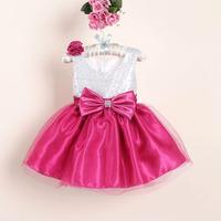 lovely baby girl paillette bows lace tutu party dress kids dancing dress flower girl dresses