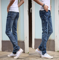 Free Shipping Newly Style Men's Fashion Slim Casual Jeans Stretch Straight Jeans Gray Snow Hole Pencil Pants 1pc/lot