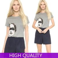Autumn 2015 Fashion Casual Short Sleeve Printed T Shirt Women Tshirts Women Clothing Ladies leisure Loose O Neck Tops Plus Size