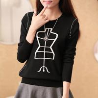 2014 autumn and winter new women's Korean printing pattern long sleeved sweater sweater coat hanger