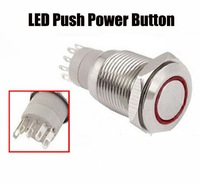 New 1 piece 12V 16mm Hole Angel Eye Car LED Push Power Button Switch Silver Metal Switch Latching Type