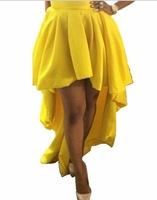 Summer Women Cute Yellow Asymmetrical  High -Low High Waist Beach Chiffon Pleated Floor Long Club Cocktail Party Skirt