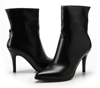 2014 Hot Genuine Leather Boots Short Boots Fashion Boot Autum Winter Shoes High Heels