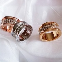 rose/silver/gold plsted titanium steel 3 layer crystal new arrival B rings