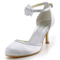 Fashion Shoes EL-0114  Ivory  3inch   Almond Toe Flower High Heel Satin Shoes Wedding Bridal Dress Women Shoes