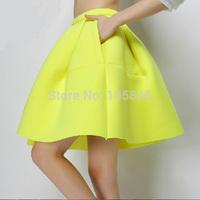 2015 New Arrival Spring European Style Top Fashion Women High Waist Neon Yellow Black Space Cotton Vintage Ball Gown Mini Skirt