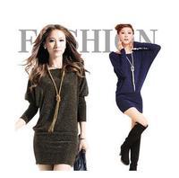 2015 New Batwing Sleeve Dress Women's Pullover Sexy Sweaters Dresses Slim Hip Slim Long Sleeve Basic Shirt Plus Size 353