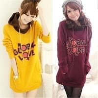 Plus size new casual full Letter Hoodies women 2015 girl sweatshirt women yellow M-L-XL-XXL