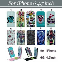 50pcs/lot Free Shipping Flower Dreamcatcher Wolf Tiger Flip PU Leather Case with 2 Card Slots For iPhone 6 4.7 inch