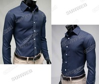 2013 New Fashion Men's Stripe Stylish Casual Slim Fit Long Sleeve Dress Shirts 2Color Black Blue M/L/XL/XXL free shipping