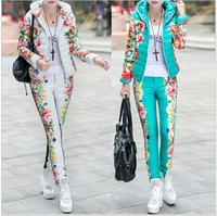 Exempt postage+Winter Duck Down Jacket Women Suit 2014 New Spring Autumn Plus Size Floral Printed Slim Casual Parka (Coat+Pants)