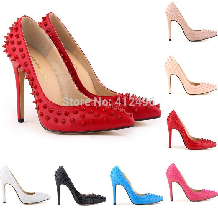Brand Designer High Heels Red Bottoms Pointed Toe Pumps High Heels Women Pumps Rivets Heels Party Shoes 35-42 Discount Price(China (Mainland))