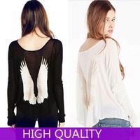 Blusas Femininas Women 2015 Casual tshirt Women Striped Angel Wings Printed Back Shirts Clothing Plus Size T Shirts Blouses Top