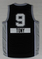 Cheap Sale,Man Jersey Black #9 Tony Parker Men's 2014-2015 Christmas New fabric Embroidery Logos Basketball jerseys!