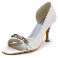 Fashion Shoes EP2083  Ivory  Euro 37/US 6  Open Toe 3inch Rhinestone Cone Heel Satin Women's Wedding Shoes