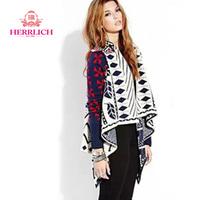 European Style 2014 Women Cardigan Sweater Long Batwing Sleeve Ruffled Coats Geometric Flat Knitted Womens Sweaters S12821