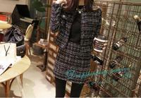 Long-sleeved Short Coat Skirt Package Hip  Tweed Temperament Suits 2 Piece Set Women Skirt Top Free Shipping