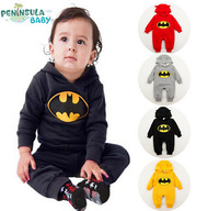 RP0028 Free Shipping batman baby rompers high quality baby boy clothes baby warm winter clothing infant hooded rompers retail