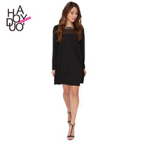 vintage women chiffon dress with long sleeve and metal patchwork for wholesale and free shipping haoduoyi