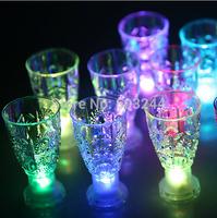 Free Ship 24pcs 8.5cm*4.5cm Shot Glasses Cup LED 7-color Changing LED Light Up Drink Ware Bubble Rocks Cup LED Cups