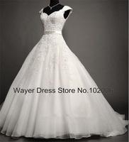 2014 Real Gorgeous Cap Sleeve Sweetheart Beaded Sash lace appliques vestido de noiva vintage Organza Ball Gown Wedding Dresses
