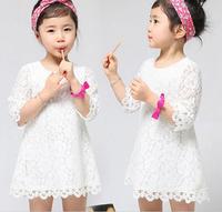 New 2015 Children Kids Girl's Casual Dress Korean children's clothing girls sleeve lace dress children dress  LJ175XGJ