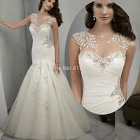 2015 Vintage Ivory Beaded Appliques Tank Lace Mermaid Wedding Dress Bridal Gown Vestido De Casamento W3736