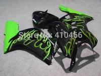 Motorcycle Fairing kit for KAWASAKI Ninja ZX6R 03 04 ZX 6R 636 2003 2004 ZX-6R Green flames black Fairings set+7Gifts KN22