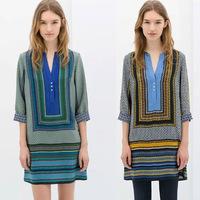Vintage Women Check Color Block Print Deep V Neck Geometric Vestidos Colorful Shift Loose Casual Party Long Blouse Mini Dress