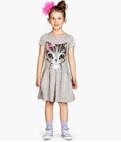 2015 new Girls bow kitty cat cotton print dress children dress children dress summer