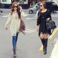 New Hot Womens Woolen Knitting Tops Loose Sweater Dress Long Knitting sweater Outerwear Black/ Apricot 10075