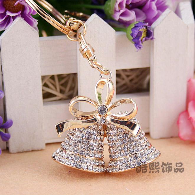 Fashion gold-plated charm trinket Rhinestone Creative bells car keychains,novelty bag Pendant key chain Souvenir,girlfriend gift(China (Mainland))