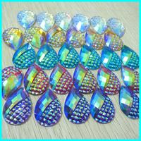 Earring Stone Pendent  Resin Rhinestone 30*20mm 100pcs/lot Accept Mix Color Flat Back Rhinestone Jewelry Finding Trim