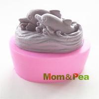 Mom&Pea 0423 Free Shipping Dolphin Silicone Soap Mold Cake Decoration Fondant Cake 3D Mold Food Grade Silicone Mould