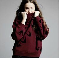 New 2014 Woman Men Fashion winter Swallow Printed hoodies Sweatshirts Long sleeve Harajuku pullovers Brand CC costumes s m l