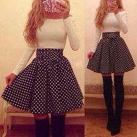S-XL new European and American long-sleeved white Polka Dot Slim Sexy dress womn's half sleeve fashion dress#MD457